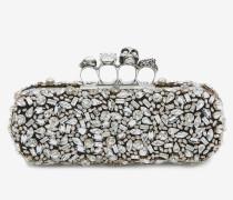 Box Clutch mit Kristallen, Skull und vier Ringen