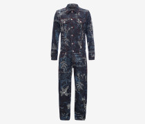 Denim-Jumpsuit mit Explorer-Print