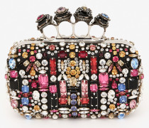 Bestickte Jewelled Four Ring Box Clutch