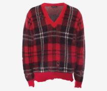 Pullover mit V-Ausschnitt aus Mohair mit Tartanmuster im Used-Look