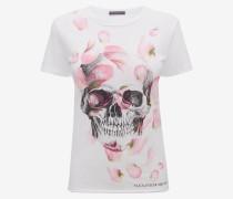 T-Shirt mit Rosenblätter und Skull-Print