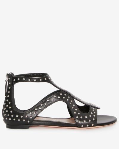 Flache Sandalen mit Käfig-Silhouette und gehämmerten Nieten