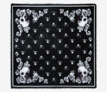Schal mit Skull-Rosen-Motiv