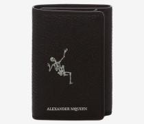 """Dreifach klappbares Brieftasche """"Dancing Skeleton"""" aus Leder"""