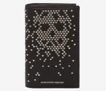 Große klappbare Brieftasche aus Leder mit Nieten