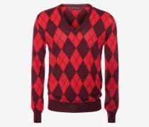 Pullover mit V-Ausschnitt und Intarsien-Argyle-Muster