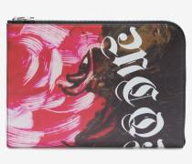"""Pochette mit """"Painted Rose""""-Print und halblangem Reißverschluss"""