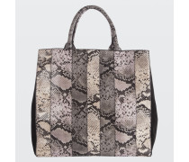 PATCHED PERFECTION patched snake neoprene bag with black calf suede