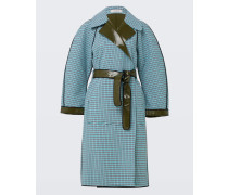 GLOSSY CHECK coat outdoor sleeve 1/1 2