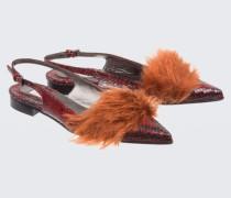TEXTURE DELUXE snake and fur ballerina 38