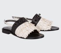 FRINGED AMBITION fringed flat sandal 38