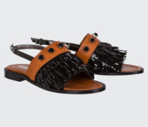 FRINGED AMBITION fringed flat sandal 38