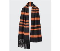 STRIPED SENSATION stripe scarf with beaded fringe