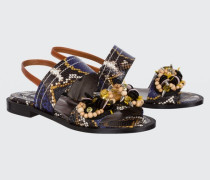 EXOTIC ADVENTURE flat sandal with handmade embroidery 40