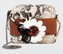 FLORAL ATTRACTION small embroidered bag with removable chain handle