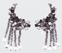 ROCK GLAM chain drop clip earrings