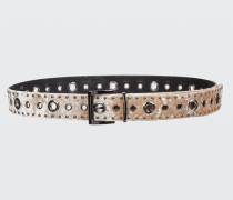 WILD VELET velvet belt with studs and eyelets 75