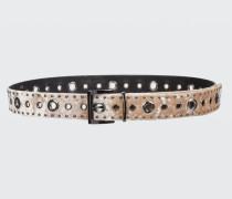 WILD VELET velvet belt with studs and eyelets 75