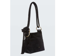CHIC CONFESSION cow suede and nappa tassle tote