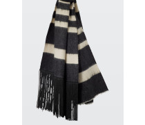 STRIPED SENSATION stripe scarf with beaded fringe
