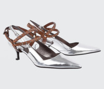 MIRRORED BEAUTY metallic kitten heel with removable harness (5cm) 38