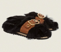 TOUCH OF SPARKLE furry footbed with leather strap 38