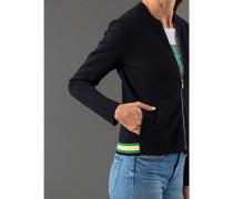 Damen Strickjacke Zip, mit Streifeneinsatz