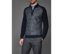 Herren Stehkragen-Pullover aus gekochter Wolle, Regular Fit