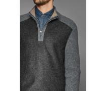 Herren Pullover mit Stehkragen mit Zip, Regular Fit