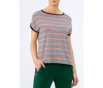 Damen Rundhals-Pullover Kurzarm gestreift