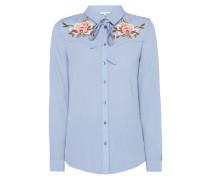 Bluse aus Krepp mit Schluppe und Stickereien