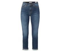 Stone Washed High Waist Slim Fit Jeans