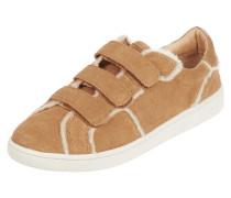 Sneaker aus Lammleder mit Lammfellbesatz