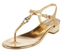 Sandalette aus Leder in Metallicoptik