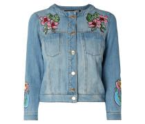 Jeansjacke mit Motiv-Prints und Stickereien