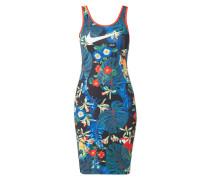 Kleid mit floralem Muster und Logo-Streifen