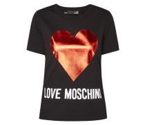 T-Shirt mit Herz-Print in Metallicoptik