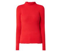 Pullover aus Viskosemischung mit Leinen-Anteil und gewellten Abschlüssen