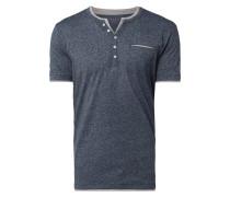Regular Fit Serafino-Shirt in Melange-Optik