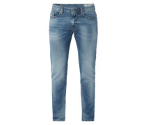 Double Stone Washed Slim-Skinny Fit Jeans