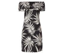 Off Shoulder Kleid mit Blättermuster