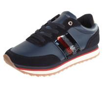 Sneaker aus Veloursleder mit Pailletten