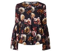 Blusenshirt mit floralem Muster und Volantärmeln