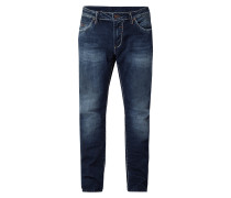 Stone Washed Regular Fit Jeans mit Kontrastnähten