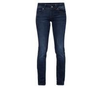 Stone Washed Straight Fit Jeans mit Kontrastnähten