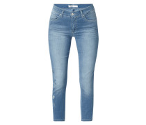 Stone Washed Slim Fit Jeans mit floralem Muster
