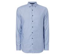 Slim Fit Business-Hemd mit Hahnentrittmuster