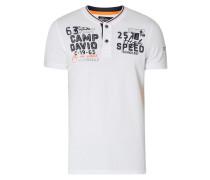 Serafino-Shirt aus Piqué mit Logo-Details