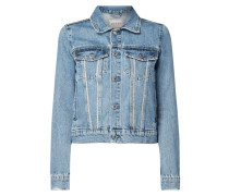 Jeansjacke mit Ziersteinbesatz