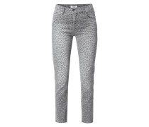 Cropped 5-Pocket-Jeans mit Leopardenmuster